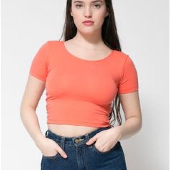 6bd7ad6ebee American Apparel Tops | Cotton Spandex Crop Tshirt L | Poshmark